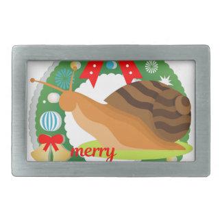 merry christmas snail rectangular belt buckle