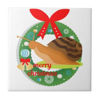 merry christmas snail tile