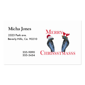 Merry Christmas Snakes In Antlers & Santa Hat Pack Of Standard Business Cards