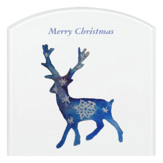 Merry Christmas Snow Deer Door Sign