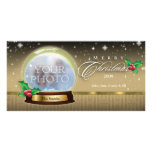 Merry Christmas Snow Globe Customisable 7 Photo Card