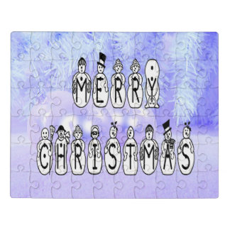 Merry Christmas Snow People Font, Blue Tint Snow Jigsaw Puzzle