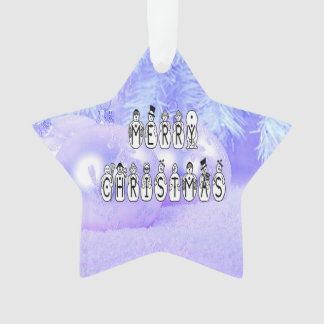 Merry Christmas Snow People Font, Blue Tint Snow Ornament
