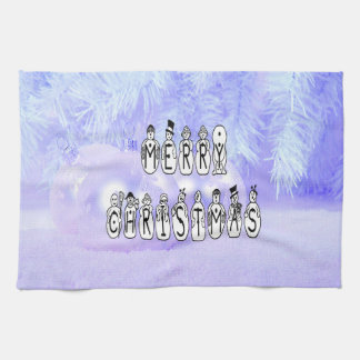 Merry Christmas Snow People Font, Blue Tint Snow Tea Towel