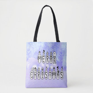 Merry Christmas Snow People Font, Blue Tint Snow Tote Bag