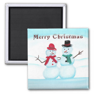 Merry Christmas, Snow People magnets