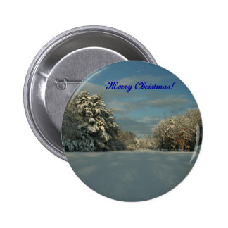 Merry Christmas Snow scene Button
