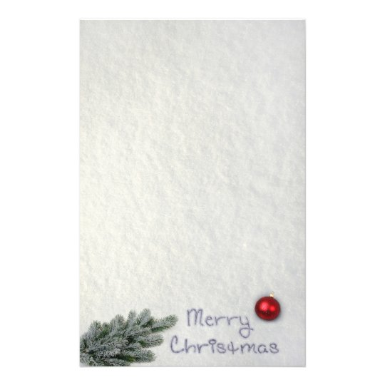 Merry Christmas Snow Writing Stationery Letterhead