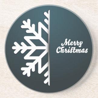Merry Christmas Snowflake Blue Beverage Coaster