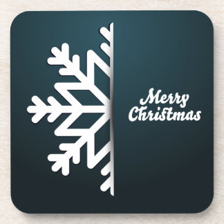 Merry Christmas Snowflake Blue Beverage Coasters