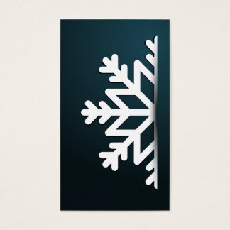 Merry Christmas Snowflake Blue Business Card