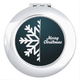 Merry Christmas Snowflake Blue Compact Mirror