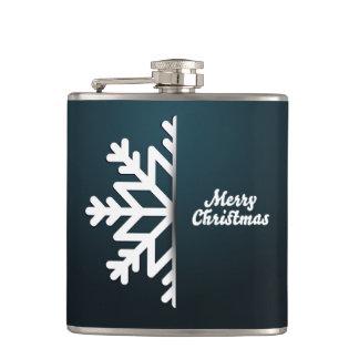 Merry Christmas Snowflake Blue Flask