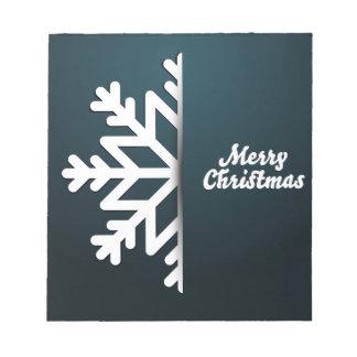 Merry Christmas Snowflake Blue Notepad