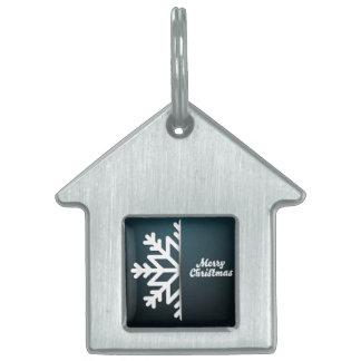 Merry Christmas Snowflake Blue Pet ID Tag
