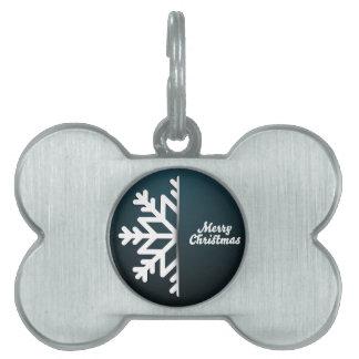 Merry Christmas Snowflake Blue Pet Tag