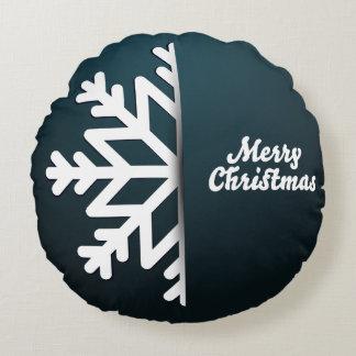 Merry Christmas Snowflake Blue Round Cushion