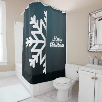 Merry Christmas Snowflake Blue Shower Curtain