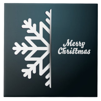 Merry Christmas Snowflake Blue Tile