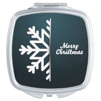 Merry Christmas Snowflake Blue Travel Mirrors