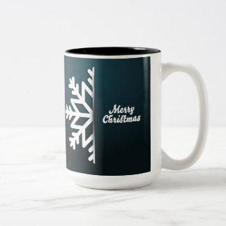 Merry Christmas Snowflake Blue Two-Tone Coffee Mug