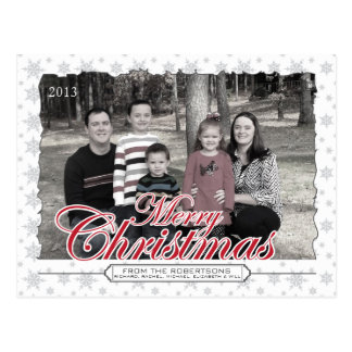 Merry Christmas Snowflake Custom Photo Postcards