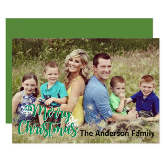 Merry Christmas Snowflake | Large One Photo Card