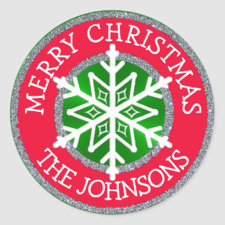 Merry Christmas, Snowflake Personalized Sticker