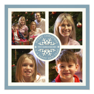 Merry Christmas Snowflake Photo Card | Four Photos 13 Cm X 13 Cm Square Invitation Card