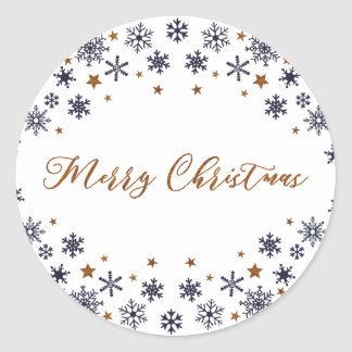 Merry Christmas Snowflakes and Stars Sticker