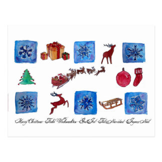 Merry Christmas Snowflakes and Wintertime Postcard