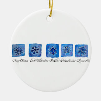 Merry Christmas Snowflakes Ceramic Ornament