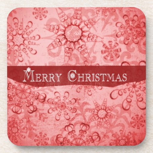Merry Christmas Snowflakes design Beverage Coasters
