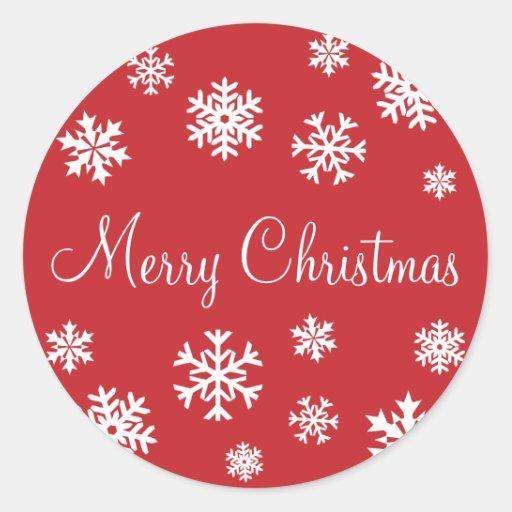 Merry Christmas Snowflakes Envelope Sticker Seal