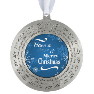 Merry Christmas Snowflakes greeting Round Ornament