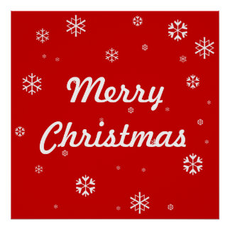 Merry Christmas Snowflakes Poster