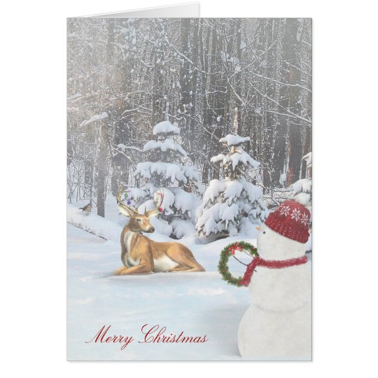 Merry Christmas snowman and deer in woods Card