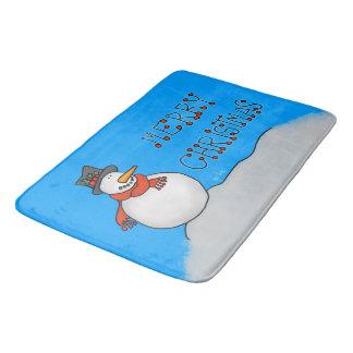 Merry Christmas Snowman Bath Mat