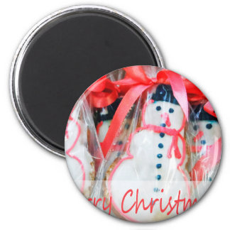 Merry Christmas Snowman Biscuit 6 Cm Round Magnet