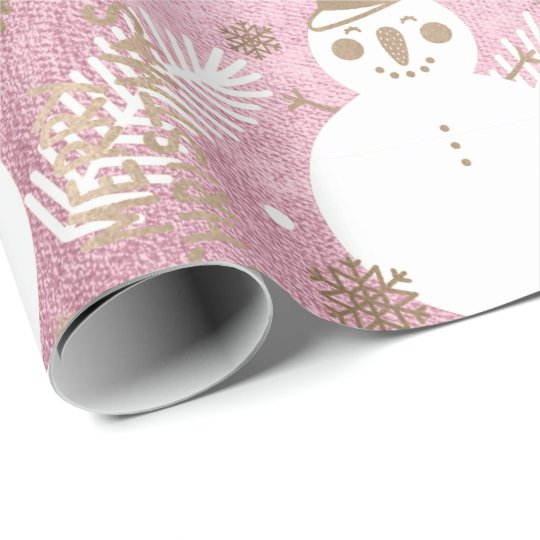 Merry Christmas Snowman Coffee Tee Mug Gold Pink Wrapping Paper