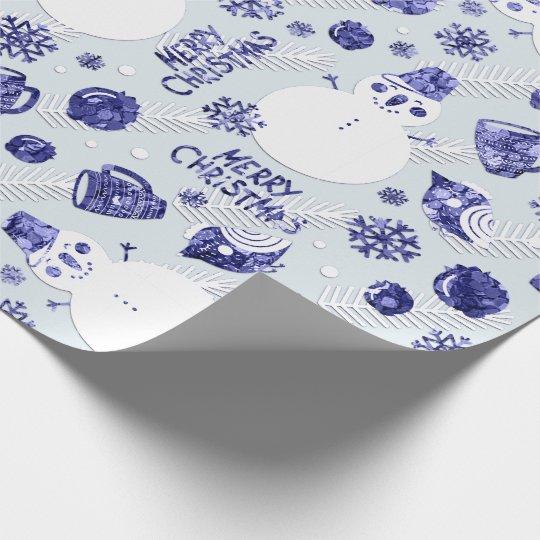 Merry Christmas Snowman Coffee Tee Mug Navy Blue Wrapping Paper