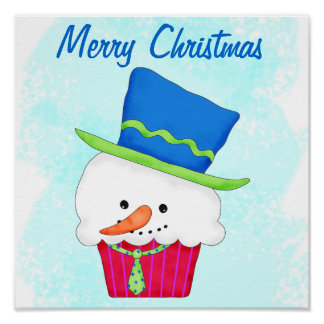Merry Christmas Snowman Cupcake Customized Poster