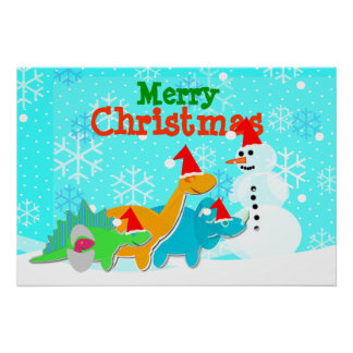 Merry Christmas Snowman & Dinosaurs Poster