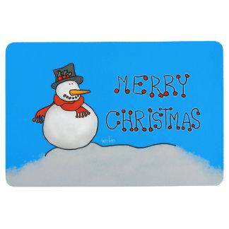 Merry Christmas Snowman Floor Mat
