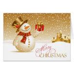 Merry Christmas Snowman Folded Card