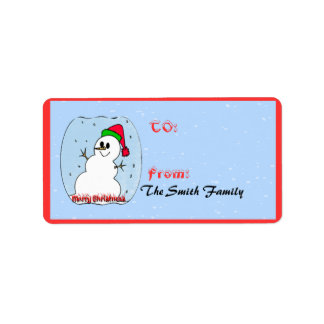 Merry Christmas Snowman Gift+Tags Address Label
