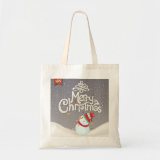 Merry Christmas Snowman in Winter Tote Budget Tote Bag