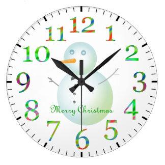 Merry Christmas Snowman Large Clock