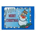 Merry Christmas Snowman Notecard Card