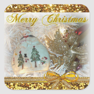Merry Christmas Snowman Ornament Gold Stickers